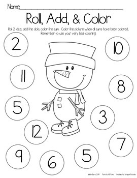 Roll, Add, and Color - Snowman Edition