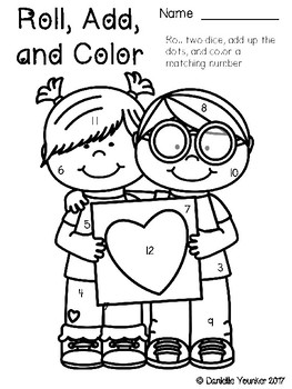 Roll, Add, and Color: Valentine's Day Edition