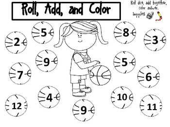 Roll, Add, and Color the Basketball (Focus Numbers: 2-12)
