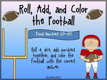 Roll, Add, and Color the Football (Focus Numbers 10-20