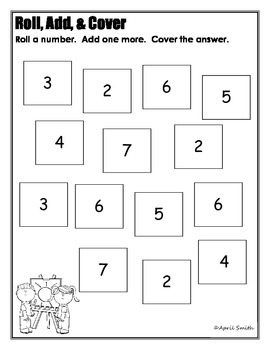 Roll, Add, and Cover Back to School Math Center (Adding One More)