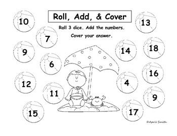 Roll, Add, and Cover Math Center (May, Summer, End of Year) Adding 3 Numbers