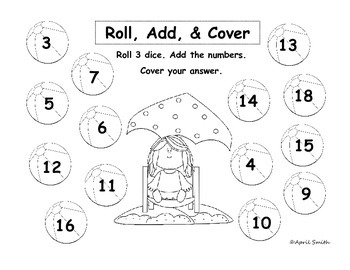 Roll, Add, and Cover Math Center (May, Summer, End of Year