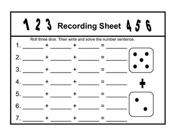 Roll, Add, and Record Number Sentences