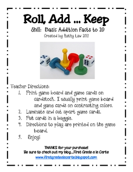 Roll, Add...Keep Game--Basic Facts to 20