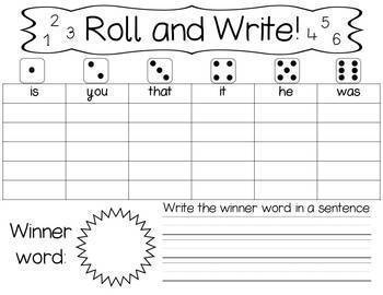 Roll And Write - High Frequency Words - Fry 1-100