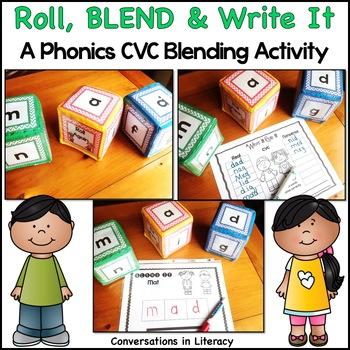 CVC Word Work Blending Center Roll, Blend & Write It