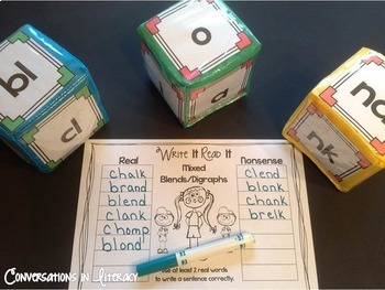 Blends and Digraphs Activities Roll, Blend & Write It