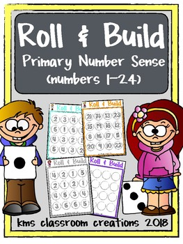 Roll & Build Dice Addition.  Math game for Kindergarten.