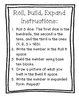 """""""Roll, Build, Expand"""" - Expanded Form Math Center"""