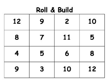 Roll & Build Number Sense Game Board