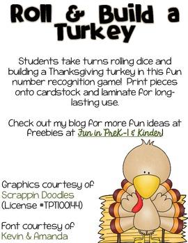 Roll & Build a Turkey Thanksgiving Freebie