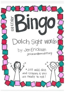 Roll & Color BINGO: Dolch Sight Words