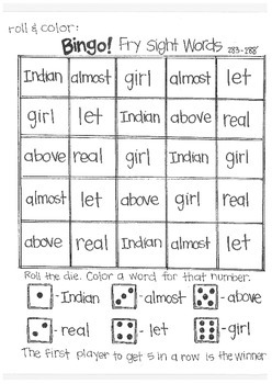 Roll & Color BINGO: Fry Sight Words