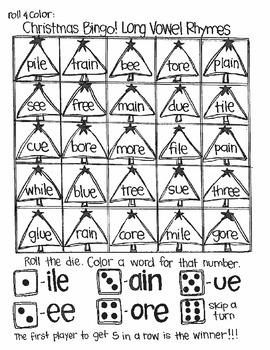 Roll & Color Christmas Bingo:  Word Families