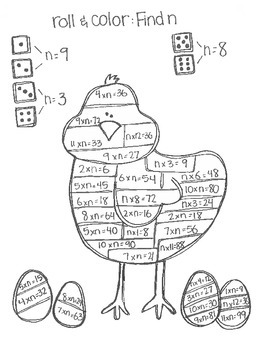 Roll & Color EASTER STYLE:  Multiplication