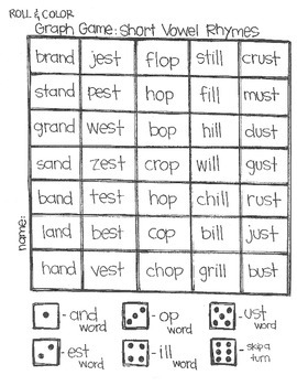 Roll & Color Graph Games:  Short & Long Vowel Rhymes