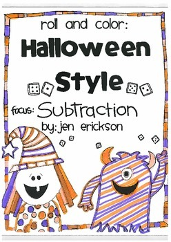 Roll & Color HALLOWEEN STYLE:  Subtraction