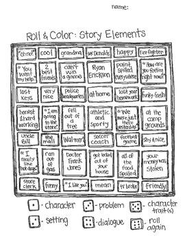 Roll & Color:  Language Arts Games (set 2)