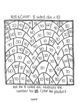 Roll & Color:  Multiplication Games Using 8 Sided Dice