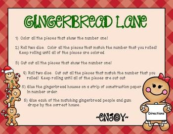 Roll & Color Number Order & Number Match (1-12) - (Gingerbread Lane)