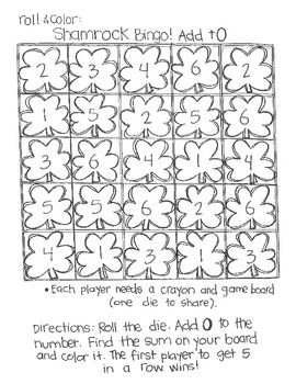 Roll & Color Shamrock Bingo:  Addition