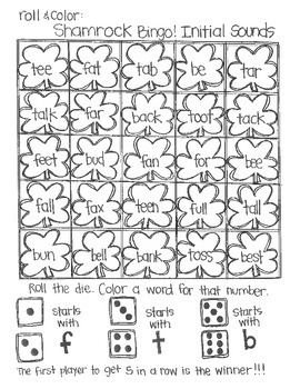 Roll & Color Shamrock Bingo!  Initial Sounds, Final Sounds, and Blends