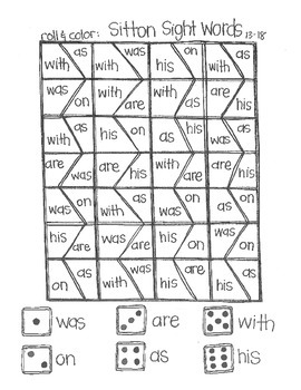 Roll & Color:  Sitton Sight Words