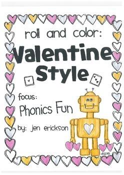Roll & Color VALENTINE STYLE:  Phonics Fun