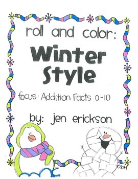 Roll & Color WINTER STYLE:  Addition Facts (0-10)