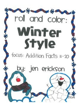 Roll & Color WINTER STYLE:  Addition Facts (11-20)