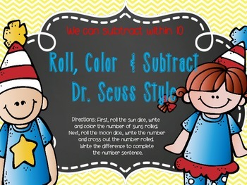 Roll, Color, and Subtract Dr. Seuss Style