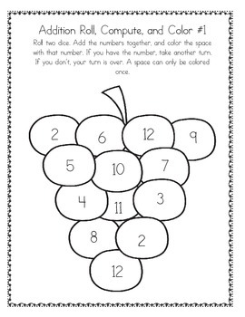 Roll, Compute, and Color Addition and Multiplication Game