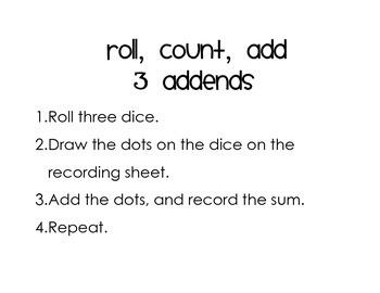 Roll, Count, Add - Three Addends