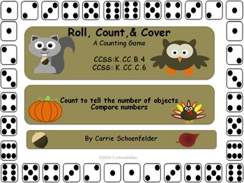 Roll Count Cover Fall Partner Game Owls CCSS K.CC.B4