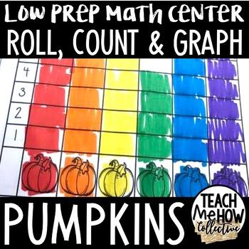 Math Center: Roll, Count & Graph Pumpkin Themed Math Activities {PreK-1}