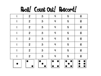 Roll Count Out Record Number Recognition Game By Nicole