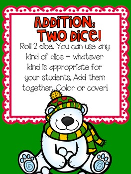 Roll & Cover - Holiday Addition and Subtraction {b&w and color}