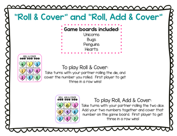 Roll & Cover Tic Tac Toe (Numbers 1-6 & Addition to 12)