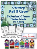 Roll & Cover to Build 10 Frames & Number Words  Black and White Set