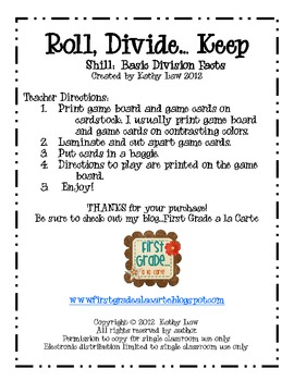Roll, Divide...Keep Game--Basic Facts