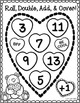 Roll, Double, Add, and Cover Math Games {Valentine's Day}