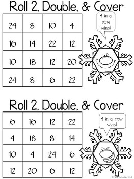 Roll, Double, and Cover Winter Theme - Black and White Set