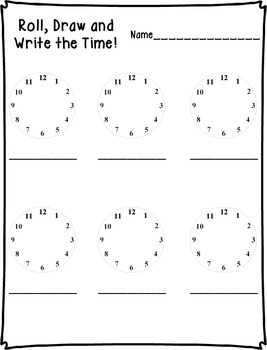 Roll, Draw & Write the Time Math Center