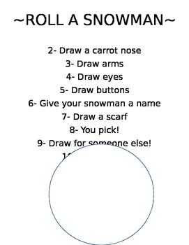 Roll & Draw a Snowman!