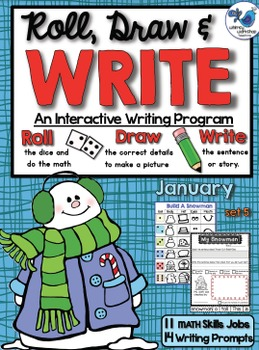 Roll Draw and Write January (Math and Literacy Program) Whimsy Workshop Teaching