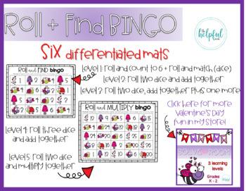 Roll + Find/Add/Multiply Bingo - Valentine's Day