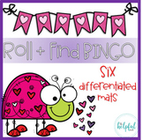 Roll + Find/Add/Multiply Bingo - Valentine's Day