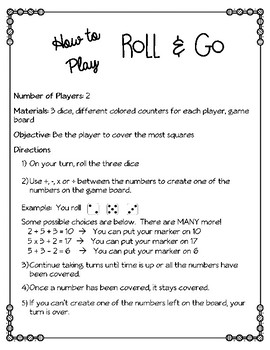 Roll & Go ~ Math Fact Fluency, Critical Thinking & Strategy Game 3 Levels