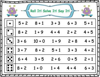 Roll It!  Solve It!  Say It! Addition Facts Fluency (1-10)